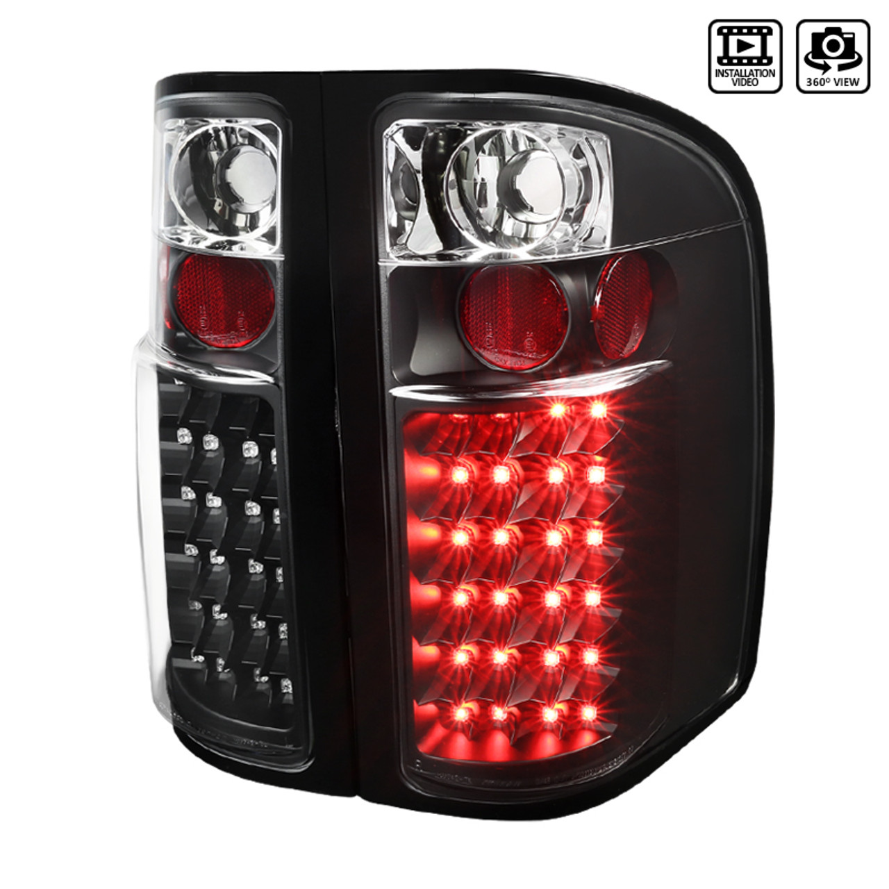 For 2003-2006 Chevy Silverado 1500 2500 Clear Full LED Tail Lights Brake Lamps