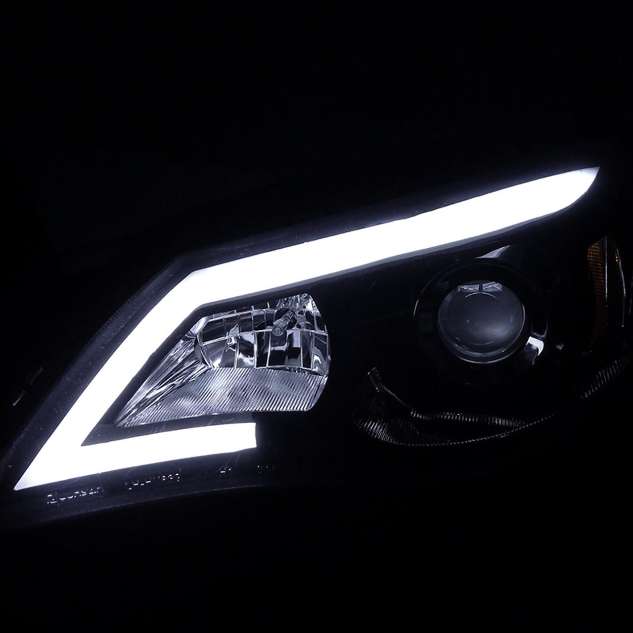 Spec-D Tuning 2LHP-WRX08JM-TM Black Projector Headlight Housing With Led Day Time Running Light Strip
