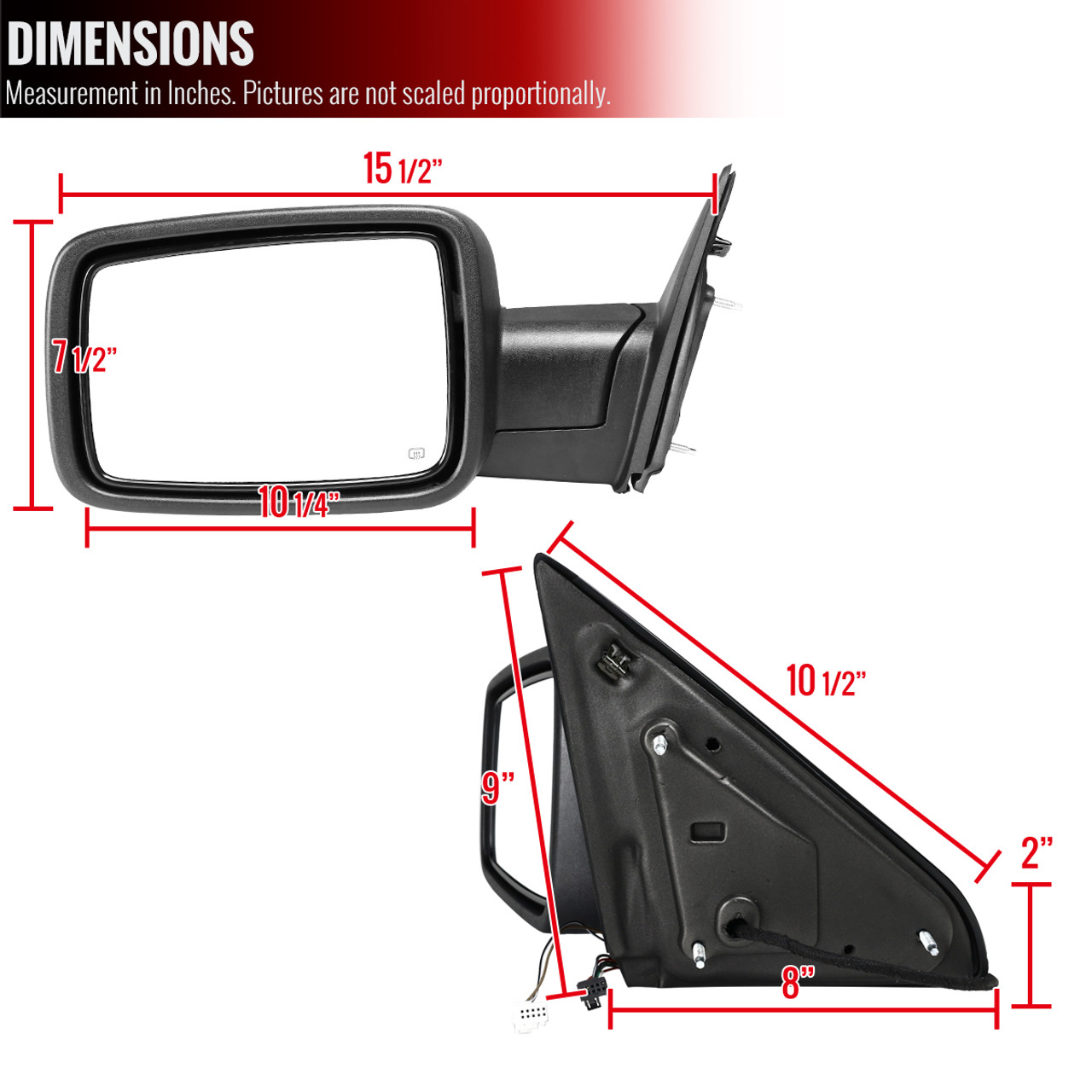 New Driver Side Left Heated Power Door Mirror Assembly w//o Fold