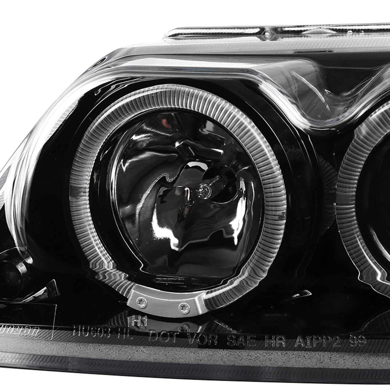 Jet Black 1999-2004 Ford Mustang LED+Dual Halo Projector Headlights Left+Right