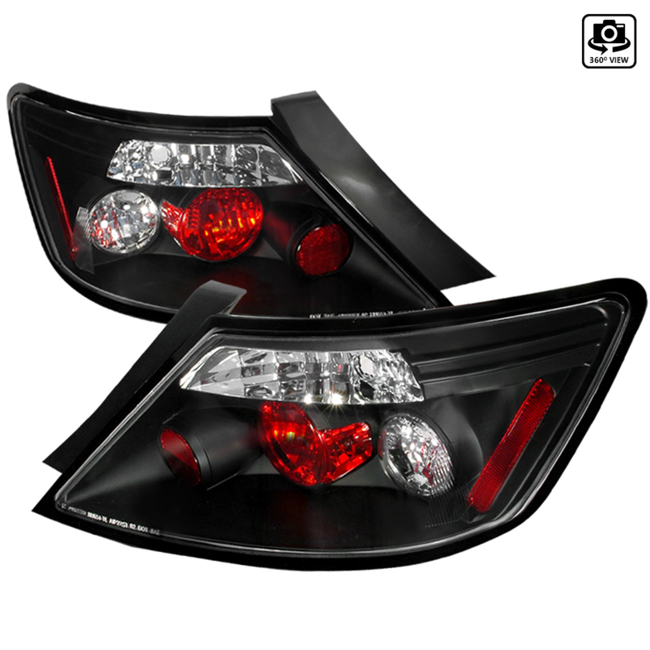 Right Pair Spec-D Tuning Black Tail Lights for 2006-2011 Honda Civic 2Dr Coupe Taillights Assembly Left