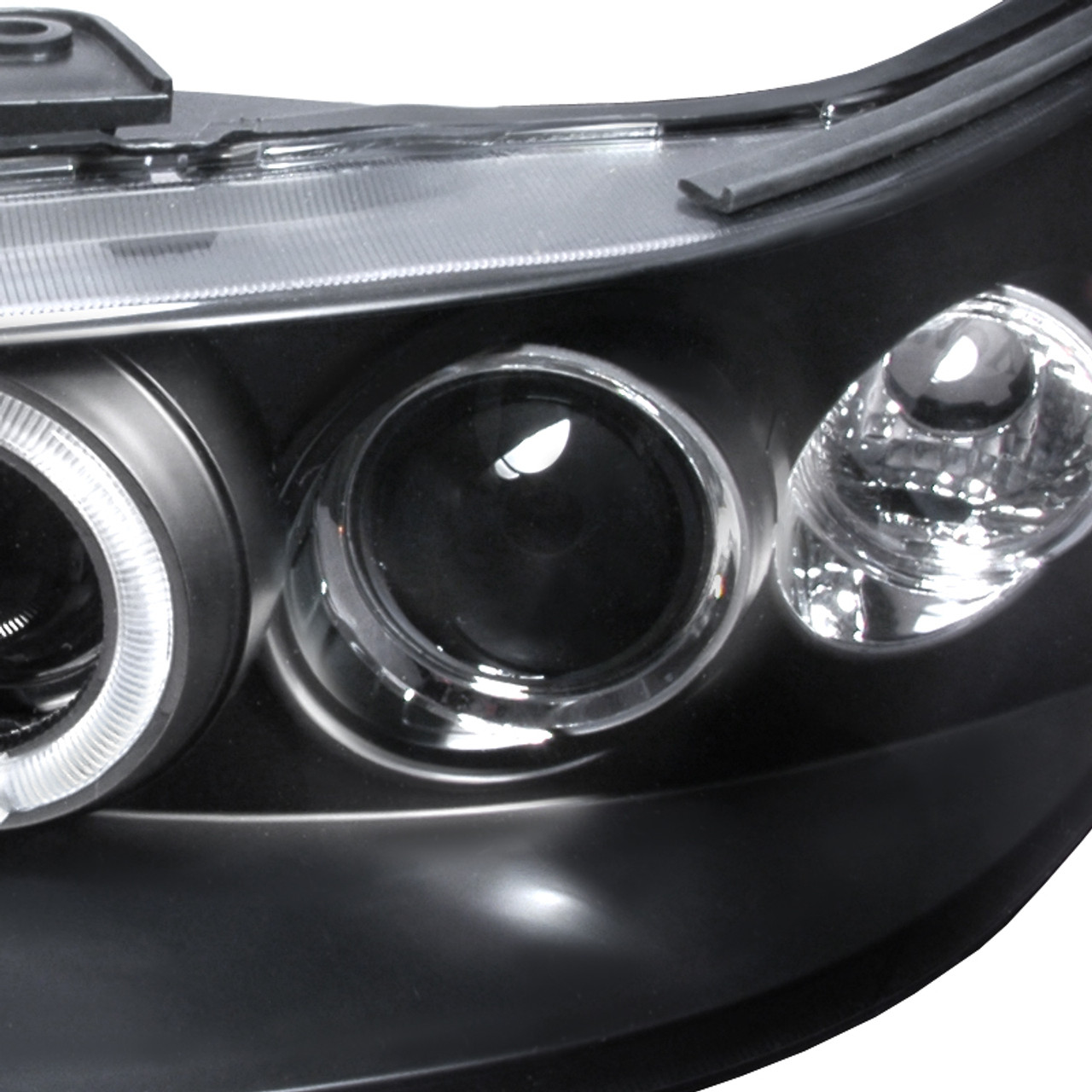 1998 2002 Honda Accord Dual Halo Projector Headlights Matte Black Housing Clear Lens Spec D Tuning