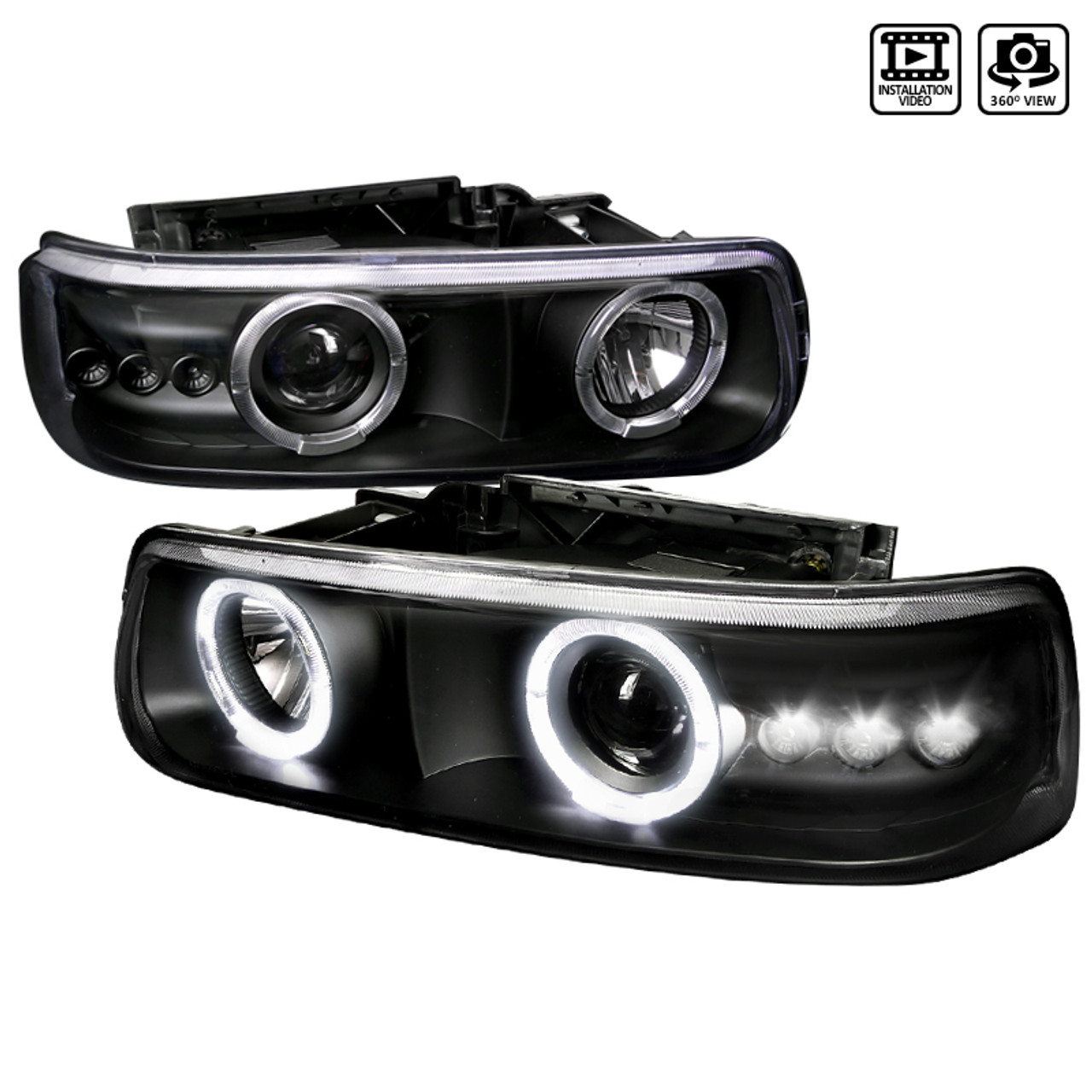 For 1999-2002 Chevy Silverado BLK Housing Headlights+Bumper Clear Reflector Lamp
