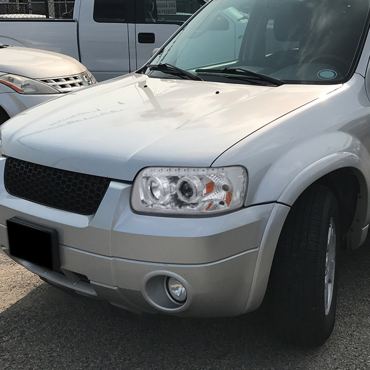 2005 2007 Ford Escape Dual Halo Projector Headlights W Smd Led Light Strip Chrome Housing Clear Lens Spec D Tuning
