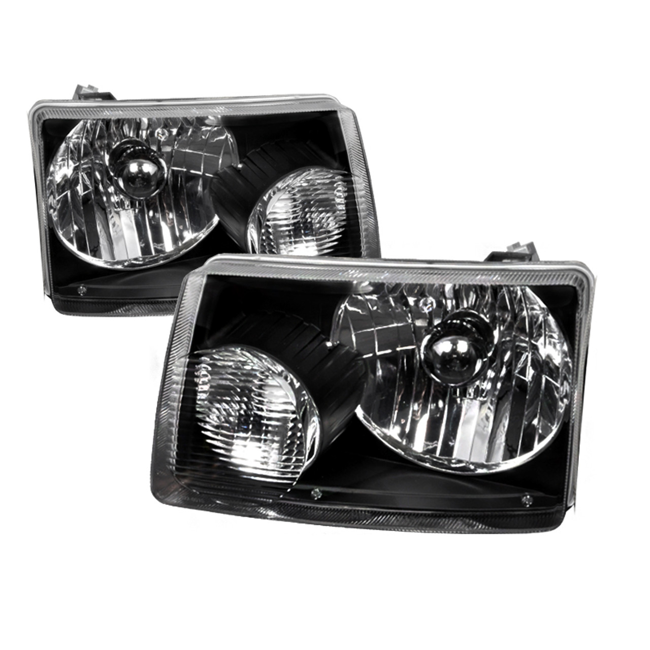 FOR FORD RANGER CHROME HOUSING CLEAR HEAD LIGHTS 1-PIECE W//AMBER REFLECTOR LAMPS