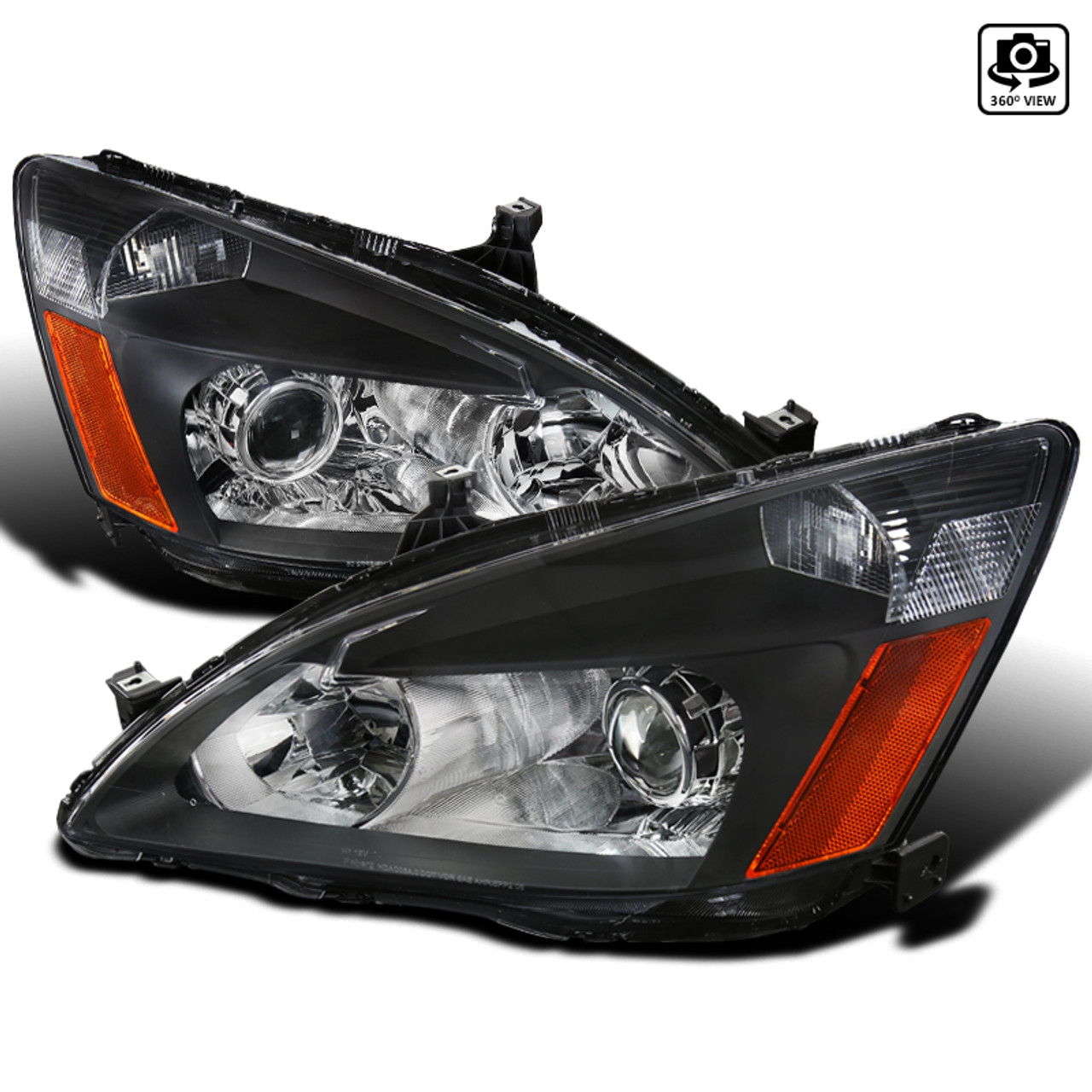 2003 2007 Honda Accord Dual Halo Projector Headlights W Amber Reflectors Matte Black Housing Clear Lens Spec D Tuning