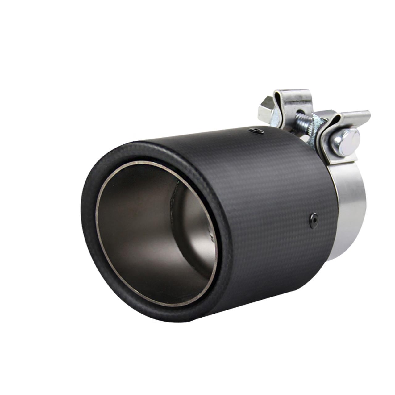 "4/"" Carbon Fiber Slant Tip 2.5/"" Inlet Black Stainless Exhaust Muffler Universal"