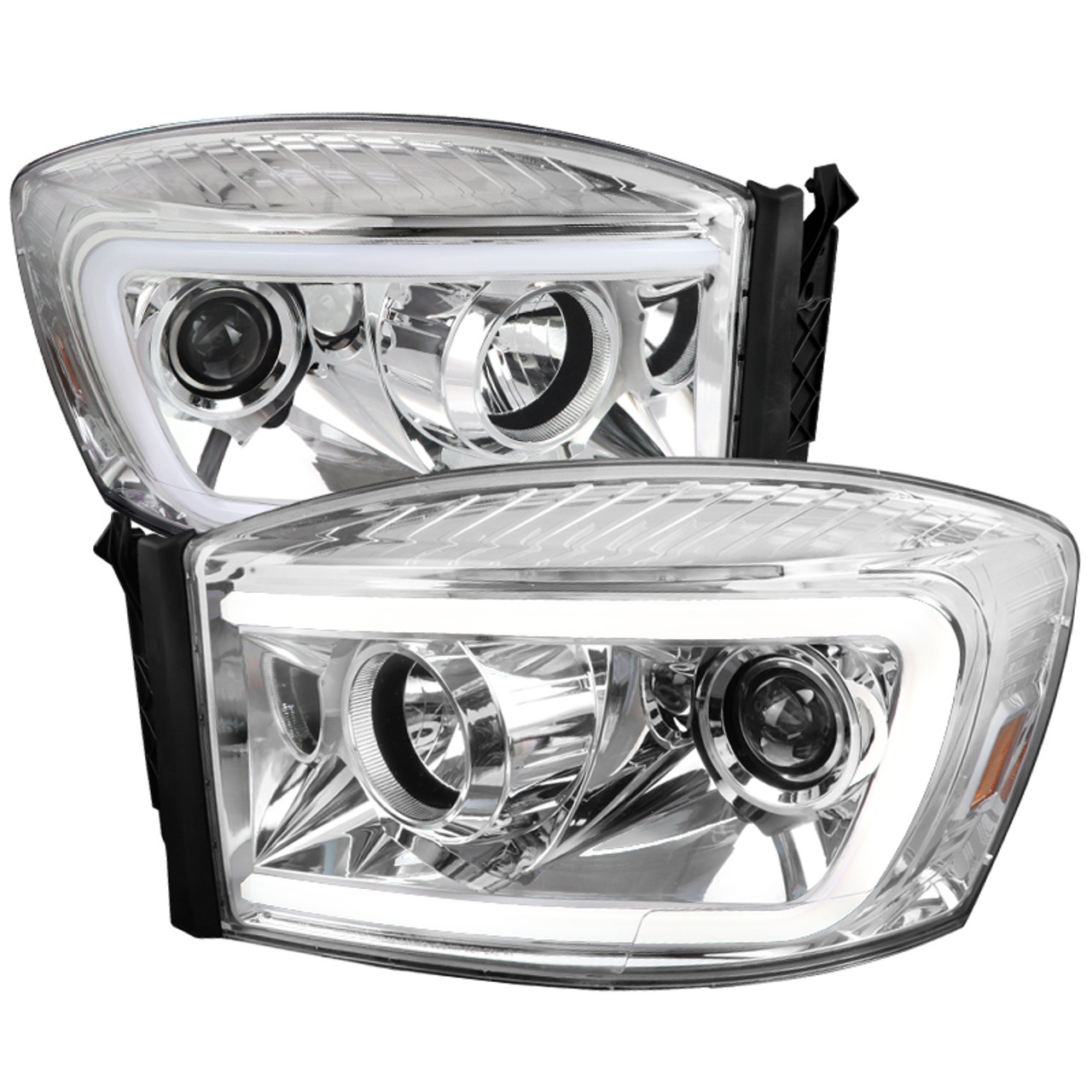 2006 2009 Dodge Ram 1500 2500 3500 Switchback Led C Bar Projector Headlights Chrome Housing Clear Lens Spec D Tuning
