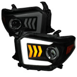 2014-2018 Toyota Tundra JDM Style Black Housing Smoke Lens Projector Headlights w/ LED DRL & Sequential LED Turn Signal