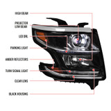 2015-2018 Chevrolet Suburban/Tahoe Projector Headlight w/ LED DRL - Right/Passenger Side Only (Black Housing Clear Lens)
