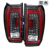 2015-2017 Chevrolet Tahoe Surban LED Tail Lights Lamps (Black Housing/Clear Lens w/ Red Bar)