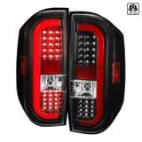 2014-2018 Toyota Tundra JDM Style Sequential LED Tail Lights (Black Housing/Clear Lens w/ Red Bar)