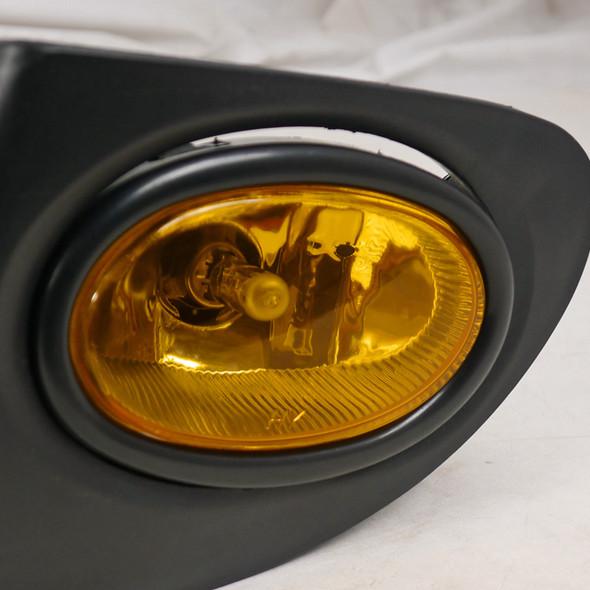 2002-2005 Honda Civic Si Hatchback H11 Fog Lights Kit (Chrome Housing/Amber Yellow Lens)