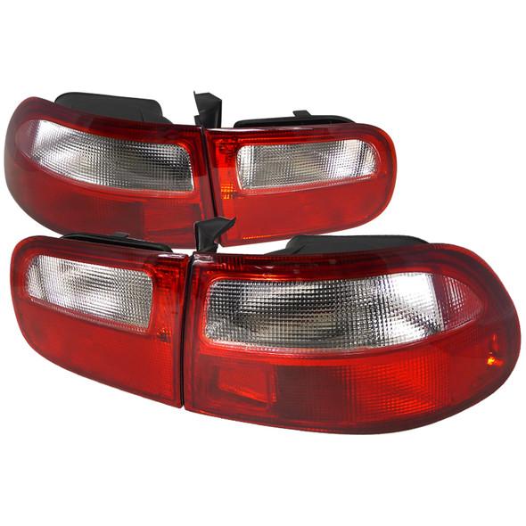 1992-1995 Honda Civic 3DR Hatchback Tail Lights (Chrome Housing/Red Clear Lens)