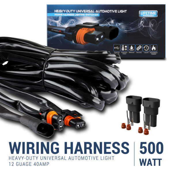 10' 12 Gauge Fog Lights wiring Harness Kit with 2 Connectors