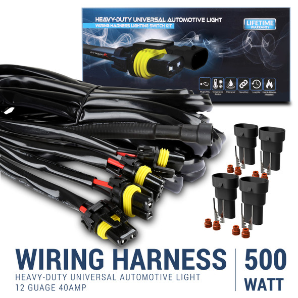 10' 12 Gauge Fog Lights wiring Harness Kit with 4 Connectors