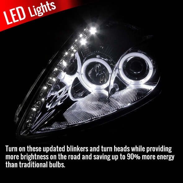 2000-2005 Mitsubishi Eclipse Dual Halo Projector Headlights w/ SMD LED Light Strip (Chrome Housing/Clear Lens)