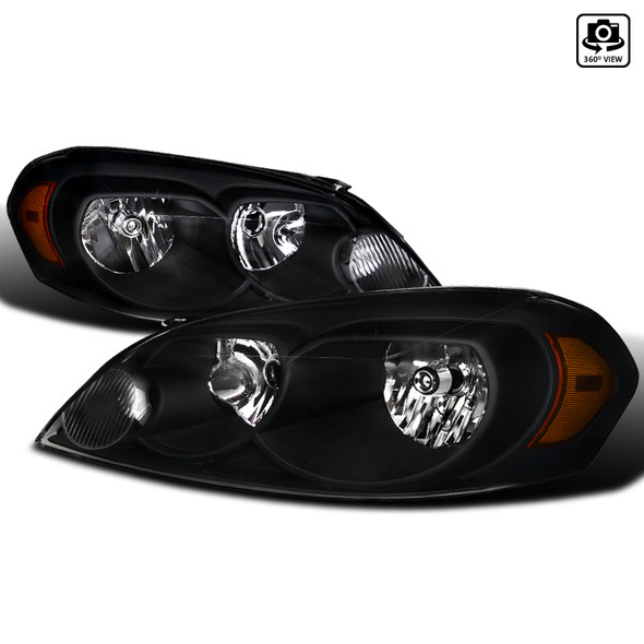 2006-2015 Chevrolet Impala/Monte Carlo Factory Style Crystal Headlights w/ Amber Reflectors (Matte Black Housing/Clear Lens)