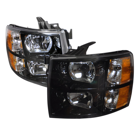 2007-2014 Chevrolet Silverado 1500/2500HD/3500HD Factory Style Headlights - DP (Matte Black Housing/Clear Lens)