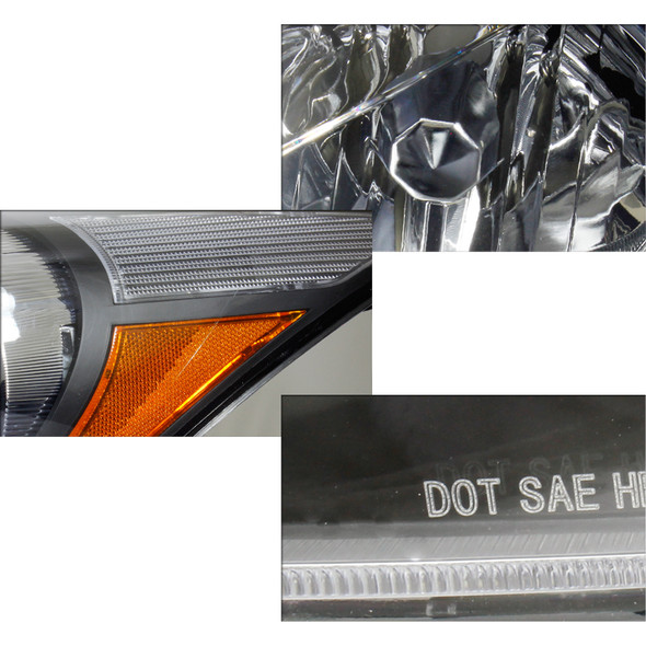2008-2012 Honda Accord Sedan Factory Style Crystal Headlights w/ Amber Reflector (Matte Black Housing/Clear Lens)