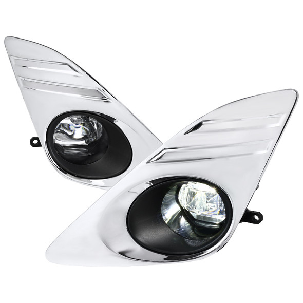 2012-2014 Toyota Camry SMD LED Projector Fog Lights w/ Switch, Wiring Harness, & Chrome Bezels(Chrome Housing/Clear Lens)