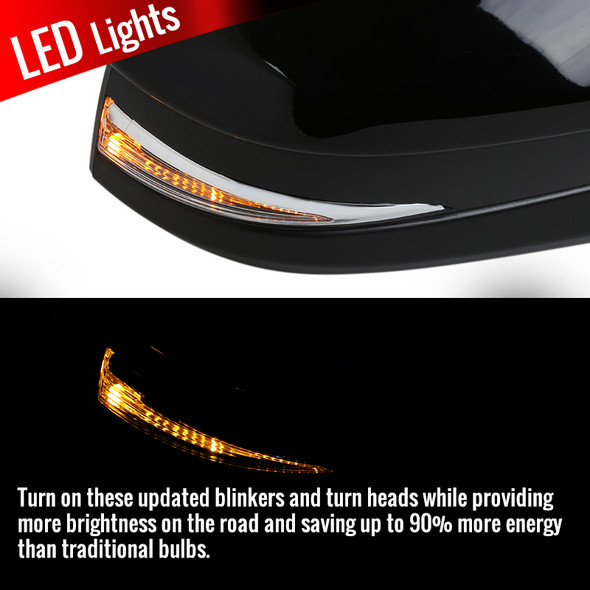 2014-2016 Toyota Highlander Glossy Black 5-Pin Power Adjustable Side Mirror w/ LED Turn Signal Light - Passenger Side Only