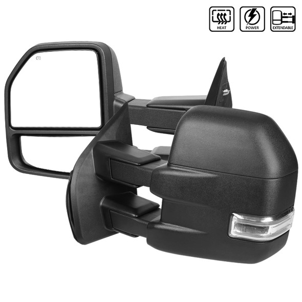 2015-2019 Ford F-150 Power Adjustable, Heated, & Manual Extendable Towing Mirrors w/ Clear Lens LED Turn Signal, Clearance, Puddle, & Auxiliary Lights