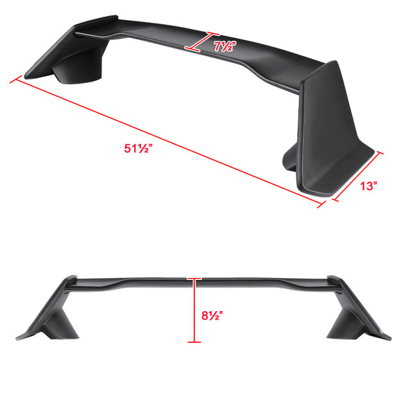 2016-2018 Honda Civic Sedan Black ABS TR Style Rear Spoiler Wing