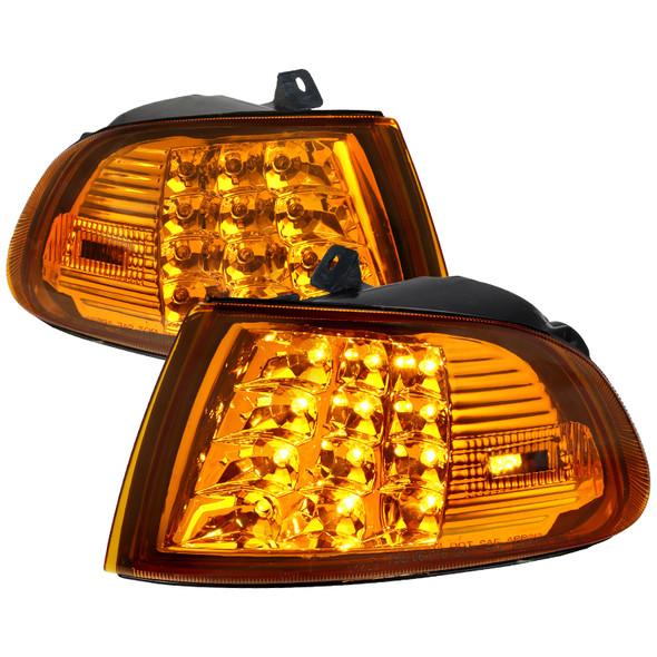 1992-1995 Honda Civic 2/3DR LED Corner Lights (Chrome Housing/Amber Lens)