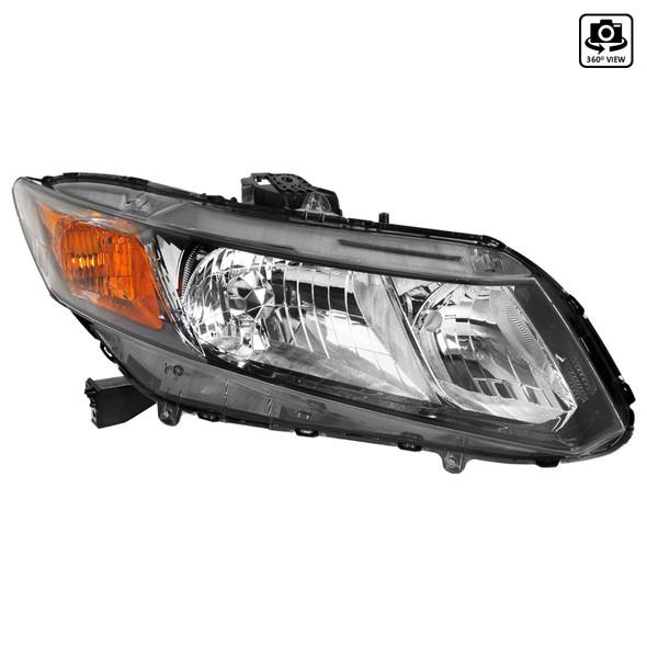 2012-2013 Honda Civic Coupe/ 2012-2015 Civic Sedan Clear Lens Crystal Headlight - Passenger Side Only