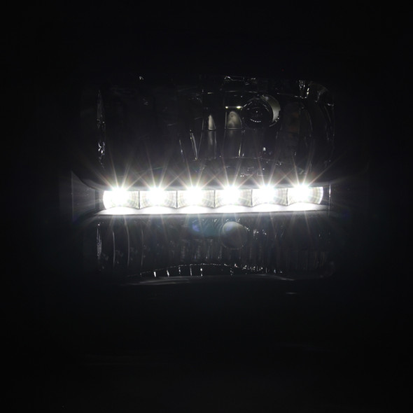 1999-2004 Ford F-250/F-350/F-450/F-550/Excursion Crystal Headlights w/ SMD LED Light Strip (Matte Black Housing/Clear Lens)