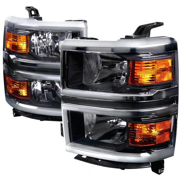 2014-2015 Chevrolet Silverado 1500 Factory Style Headlights w/ Amber Reflectors (Matte Black Housing/Clear Lens)