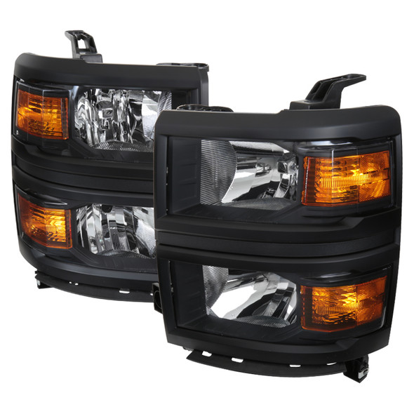 2014-2015 Chevrolet Silverado 1500 Factory Style V2 Headlights (Matte Black Housing/Clear Lens)