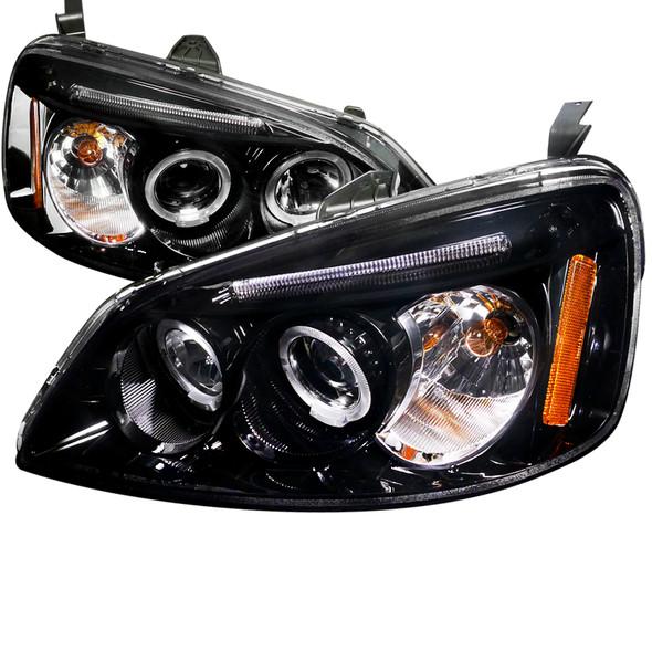 2001-2003 Honda Civic Dual Halo Projector Headlights (Glossy Black Housing/Smoke Lens)