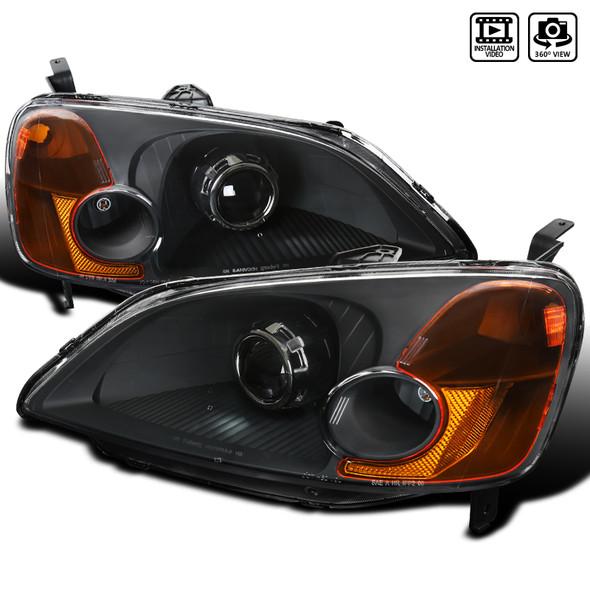 2001-2003 Honda Civic Projector Headlights w/ H1 Bulbs (Matte Black Housing/Clear Lens)