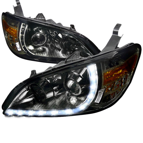 2004-2005 Honda Civic Projector Headlights w/ R8 Style LED Light Strip (Chrome Housing/Smoke Lens)