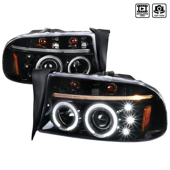 1997-2004 Dodge Dakota/ 1998-2003 Durango Dual Halo Projector Headlights (Jet Black Housing/Clear Lens)