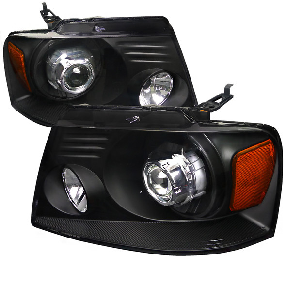 2004-2008 Ford F-150/ 2006-2008 Lincoln Mark LT Projector Headlights w/ Amber Reflectors (Matte Black Housing/Clear Lens)