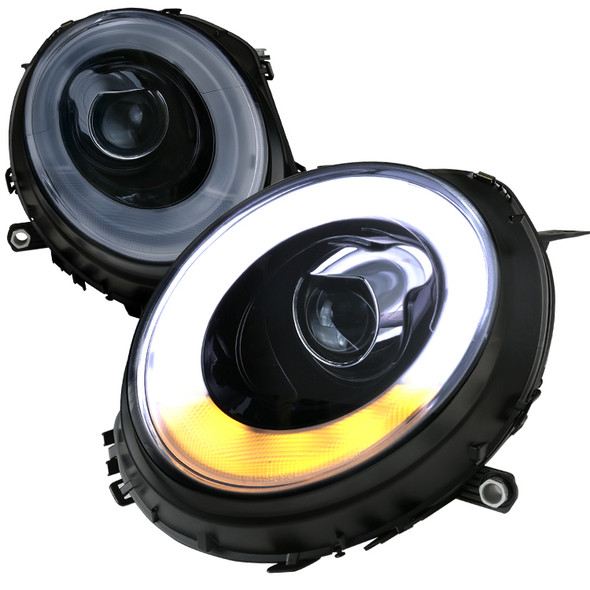 2007-2015 Mini Cooper LED DRL Projector Headlights w/ LED Turn Signal (Glossy Black Housing/Smoke Lens)