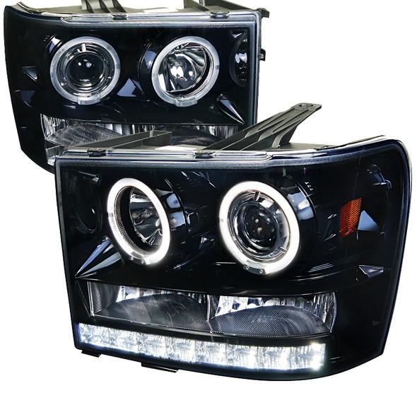 2007-2014 GMC Sierra SMD Dual Halo Projector Headlights (Glossy Black Housing/Smoke Lens)