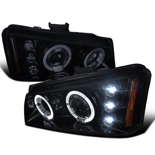 2002-2006 Chevrolet Avalanche/ 2003-2007 Silverado Dual Halo Projector Headlights (Glossy Black Housing/Smoke Lens)