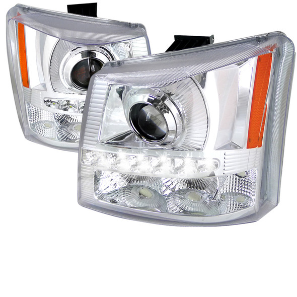 2002-2006 Chevrolet Avalanche/ 2003-2007 Silverado 1PC Style Projector Headlights w/ SMD LED Light Strip & Bumper Lights (Chrome Housing/Clear Lens)
