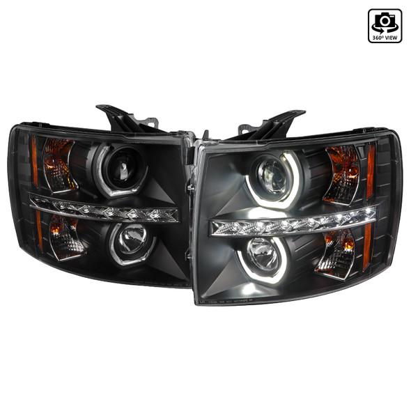 2007-2013 Chevrolet Silverado 1500/ 2007-2014 Silverado 2500HD 3500HD Dual U-Ring Halo Projector Headlights w/ LED Light Strip (Matte Black Housing/Clear Lens)