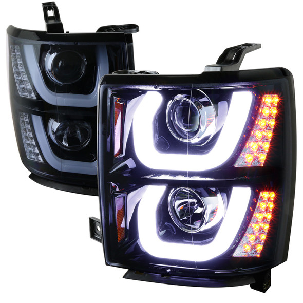 2014-2015 Chevrolet Silverado 1500 LED U-Bar Projector Headlights w/ LED Turn Signal Lights (Glossy Black Housing/Smoke Lens)