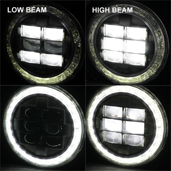 """Universal 7"""" Round Cree LED Red Rim Halo Projector Headlight - 1PC (Matte Black Housing/Clear Lens)"""