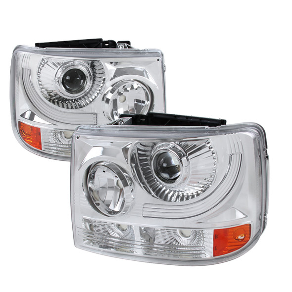 1999-2002 Chevrolet Silverado 1500 2500/ 2000-2006 Tahoe Suburban 1PC Projector Headlights w/ Bumper Lights (Chrome Housing/Clear Lens)