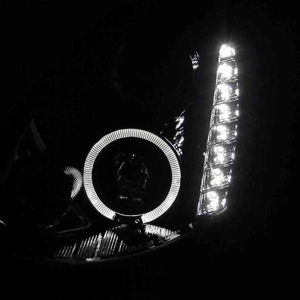 2005-2006 Infiniti G35 Sedan Halo Projector Headlights w/ SMD LED Light Strip (Glossy Black Housing/Smoke Lens)
