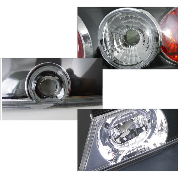 1989-1994 Nissan 240SX S13 Hatchback Black Housing Clear Lens Tail Lights & Center Trunk Panel