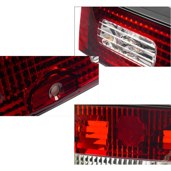 1989-1994 Nissan 240SX S13 Hatchback Chrome Housing Red/Clear Lens Tail Lights & Center Trunk Panel