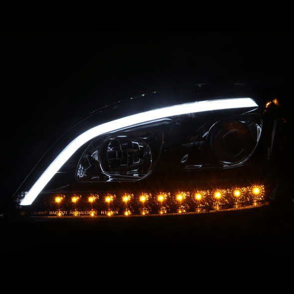 2006-2008 Mercedes Benz W164 ML-Class Projector Headlights w/ Sequential LED Turn Signals (Jet Black Housing/Clear Lens)